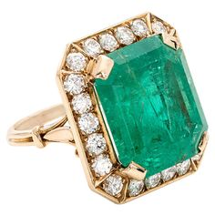 1960s 18.75 Carat GIA Cert Emerald Diamond Gold Ring | From a unique collection of vintage fashion rings at https://www.1stdibs.com/jewelry/rings/fashion-rings/