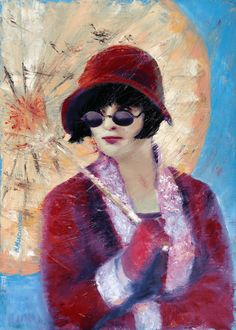 """Fan Art Oil Painting, with Umbrella, Miss Fisher's Murder Mysteries TV series, Red, 19.5""""x27,5"""" Wall Decor, Natali Maksymenko Artworks - pinned by pin4etsy.com"""