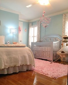 Project Nursery - Aqua, Pink and Grey Baby Girl Nursery - like this but wouldn't do blue walls