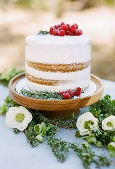 This simple, rustic one-tier cake.