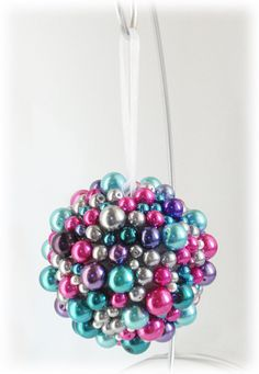 Holiday Ornament Beaded Berry Pearl Purple Teal Silver White Pink Christmas