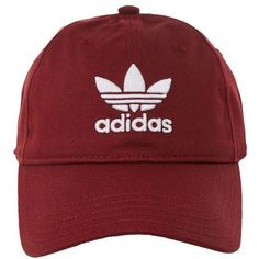 Trefoil Cap by Adidas ($19) ❤ liked on Polyvore featuring accessories, hats, burgundy, adidas cap, sport caps, adidas hat, sports caps hats and cap hats