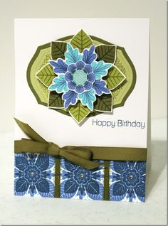 handmade greeting card ... blues with oives ... stamped, die cut and layered fantasy flower  ... Paper Trey Ink