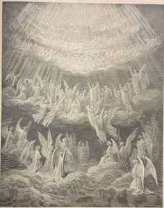 27.1 (Paradise) Heavenly Host : Heavenly host singing Gloria in Excelsis  Creator: Doré, Gustave  Date: c.1868  Medium: engraving