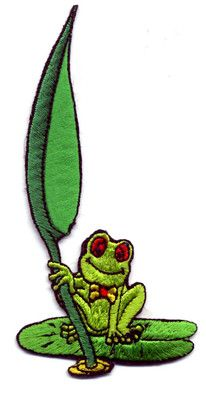 FROG - LILY PAD - AMPHIBIAN - CUTE EMBROIDERED IRON ON APPLIQUE PATCH