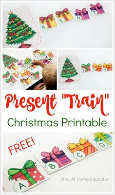 Add some letter fun to your Christmas preschool lesson plans! This alphabet game has so any fun ways to play and so many preschool learning activities, too! Use it to teach letter identification, name spelling, decoding, cvc words and so much more! Writing Activities For Preschoolers, Preschool Christmas Activities, Circle Time Activities, Preschool Learning Activities, Alphabet Activities, Spelling Activities, Preschool Alphabet, Preschool Writing, Christmas Tree With Presents