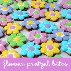 These Flower Pretzel Bites are sweet, salty, crunchy and delicious - an easy and fun treat for Easter, Mother's Day, a Baby Shower or a Sunday Brunch.