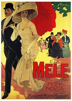 Mele, 1908 Italian Art Nouveau poster by Aldo Mazza for the couture in Naples, the old folks stunned by the new fashion