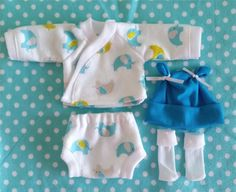 """5 pc bleu-turquoise éléphant Layette ensemble pour 5-6"""", 6-7», 7-8 «, 8-9» ou 9-10 «Mini pâte, poupées en Silicone, vous choisissez la taille.   Vêtements de poupée"""