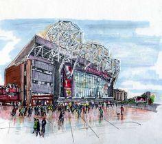 Old Trafford. Home of Manchester United Football Club by Anthony McCarthy. Manchester United Football, Old Trafford, Limited Edition Prints, Louvre, The Unit, Club, Drawings, Artist, Painting