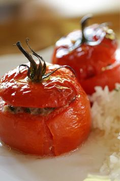 """Tomates Farcies or """"Stuffed Tomatoes"""" is a classic French dish served in the summertime. Flavorful, ripe tomatoes, stuffed with seasoned pork and herbs de Provence, slow-roasted until tender and juicy. Serve with buttered white rice! Makes for a great easy dinner idea!     #entertainingwithbeth #frenchrecipes #tomatorecipes #stuffedtomatoes Tomato Dishes, Vegetable Dishes, Healthy Instagram, Healthy Food Choices, Healthy Recipes, Appetizer Recipes, Dinner Recipes, Appetizers, Classic French Dishes"""