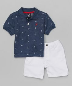 Look at this Provincial Anchor Polo & White Shorts - Infant, Toddler & Boys on #zulily today!