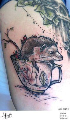 Anki Michler Tattoos Tätowierungen - Hedgehog in a Teacup - http://tattrx.com/artists/anki-michler