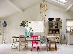 Mismatched chairs Chaises dépareillées tendance déco chaise rose cuisine pink chair kitchen 2