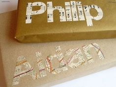 gift wrap--love the maps, but could do w/scraps of wrapping paper, cards, scrapbook paper, too!