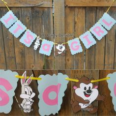 BABY LOONEY TUNES banner Baby Shower Centerpieces Bugs Bunny Taz Marvin The Martian Sylvester by IDPartyDesigns on Etsy https://www.etsy.com/listing/275234102/baby-looney-tunes-banner-baby-shower