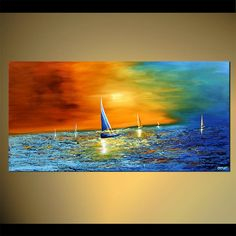 Original abstract art paintings by Osnat - sailboats abstract landscape painting