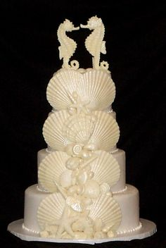 ... Island Pleasure Special Order extra large scallop shells plus shell mix plus Seahorse couple topper ...