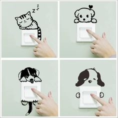 XXYYZZ DIY funny Cute Sleeping Cat Dog Switch Stickers Wall Stickers Decal Home Decoration Bedroom Living Room Parlor Decoration room diy for cheap a budget living room living room Simple Wall Paintings, Wall Painting Decor, Cool Art Drawings, Wall Drawing, Cheap Wall Stickers, Bedroom Stickers, Wall Stickers Home Decor, Cute Home Decor, Creative Walls
