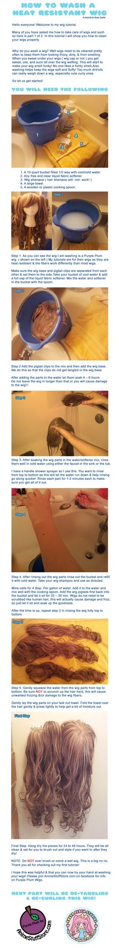 How to Wash a Heat Resistant Wig by MoogleGurl.deviantart.com on @deviantART