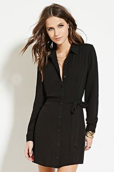 forever 21 little black shirt dress with sash and long sleeves $18