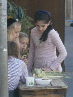 Jerusalem children weave special holders from the leaves of date palms for the four species used during the Holiday of Succot during the Hebrew month of Tishrei. This was taken this year in the Meah Shearim neighborhood of Jerusalem.