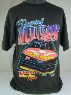 'L~1992 Davey Allison Racing Nascar Black T-Shirt' is going up for auction at  1pm Fri, Sep 28 with a starting bid of $25.