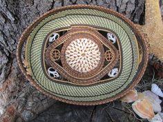 Sweet grass, pine needle, sea shell basket - handwoven.