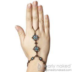 Boho Chic Turquoise Bracelet Ring Hand Jewelry | Nearly Naked  #gonearlynaked #handpiece #handjewelry #bodyjewelry