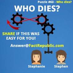 Who Dies Puzzle? Share if this was easy for you. Stephanie or Stephen puzzle. Brain Teasers Riddles, Brain Teasers With Answers, Brain Teaser Puzzles, Mind Games Puzzles, Logic Puzzles, Puzzle Games, Best Mind Games, Mental Maths Worksheets, Computer Basics
