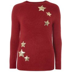 Dorothy Perkins Red Sequin Star Jumper ($49) ❤ liked on Polyvore featuring tops, sweaters, red, star print top, star jumper, star print sweater, red jumper and jumper top