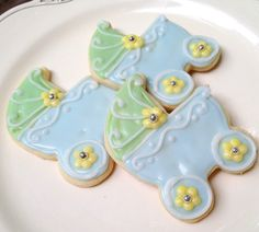 Baby Carriage Sugar Cookies Pram Baby Shower Blue Green Carriage. $20.95, via Etsy.