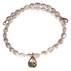 Kette mit barocken Perlen und Citrin-Anhänger | Perlotte Schmuck