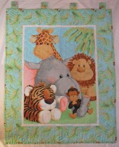Jungle Baby Quilt Panel Blanket Nursery Wall Hanging