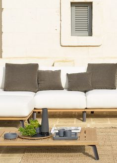Back Module Welcome in teak and rope - Unopiù Outdoor Sofa, Outdoor Furniture, Outdoor Decor, Armchairs, Sofas, Welcome, Benches, Teak, Cushions