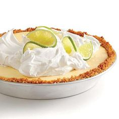 Cooking Light Lighter Key Lime Pie Recipe- uses white chocolate in the crust, greek yogurt in the filling + some cool whip Light Desserts, Just Desserts, Delicious Desserts, Summer Desserts, Sweet Desserts, Key Lime Pie, Cannoli, Pie Dessert, Dessert Recipes