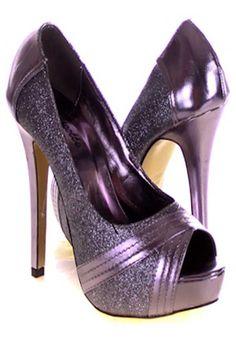 Pewter sequin peep toe platform heels