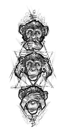 Three monkey tattoo design sketch