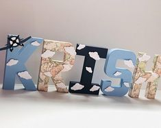Airplane Theme Personilized Block Letters With Name, Block Letters For Boy Birthday Party, First Birthday Smash Cake Photo Shoot Decorations Planes Birthday, Baby First Birthday, Boy Birthday Parties, Girl Birthday, Birthday Ideas, Birthday Wishes, Blue Party Decorations, Paper Mache Letters, First Birthday Photos
