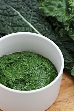 Kale pesto: used kale, olive oil, lemon zest, garlic powder, sea salt, walnuts. Blend in magic bullet. Delish!