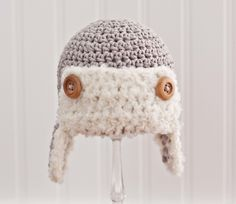 Crochet Boy Hat,  Crochet Aviator Hat, Aviator Hat for Boy, Infant Hat, Baby Boy Hat, Aviator Hat, Gray, Cotton, 0-3 Months. $23.00, via Etsy.