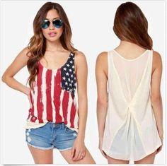 Plus Size Chic Women American National Flag Usa Chiffon Tank Tops Shirts Ladies