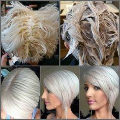 Icy platinum blonde with silver tone formula Wella Toner, Hair Color Formulas, Platinum Blonde Hair, Bleached Hair, Great Hair, Hair Hacks, Hair Trends, Hair Inspiration, Short Hair Styles