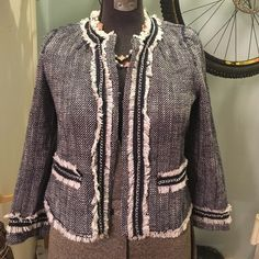 bou·clé jacket by Chico's fits size small bou·clé jacket with silver chain detail.  Excellent condition. Chico's Jackets & Coats Blazers