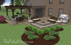 Fun Family Patio Design with Pergola | 530 sq ft | Download Installation Plan, How-to's and Material List @Mypatiodesign.com