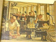 """One of three New Deal murals painted by Arthur Covey in 1936. All are entitled """"Bridgeport Manufacturing""""."""