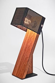 Handcrafted Oblic Wood Table Lamp - iD Lights Handcrafted Oblic Table Lamp - Table Lamp Wood, Wooden Lamp, Desk Lamp, Table Lamps, Room Lamp, Diy Luminaire, Bois Diy, Unique Lamps, Light Design