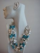 Keshi White Pearl and Gemstone Necklace