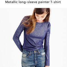 NWT J Crew Metallic Painter Tee Never worn! J. Crew Tops Tees - Long Sleeve