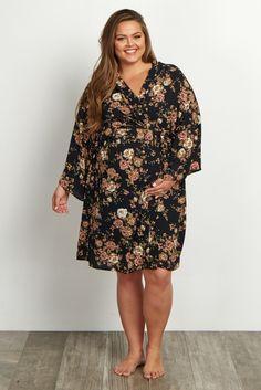 Black-Floral-Plus-Size-Dressing-Robe